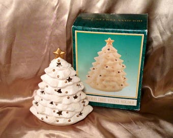 Porcelain Christmas Tree Candle Holder - White and Gold Glowing Tea light Votive Holder - In Original Box - Festive Holiday Decor, Gift