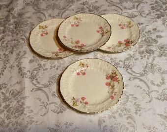 Set of 4 Small Plates, Rose Point with Embellished Floral Trim - Fine China with Gold Trim - Discontinued Pope Gosser - Wedding Serving
