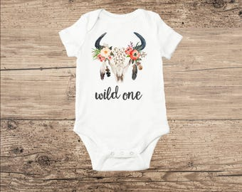 Boho Chic Antler Baby Clothes, Wild One