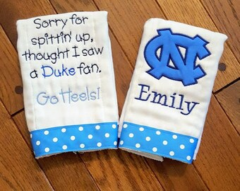 North carolina baby etsy go heels sorry for spittin up thought i saw a duke fan personalized burp cloth north negle Choice Image