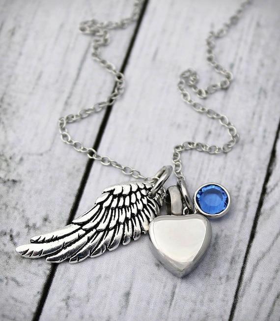 Angel Wing Urn Necklace: Cremation Urn Necklace Heart Urn Angel Wing Birthstone