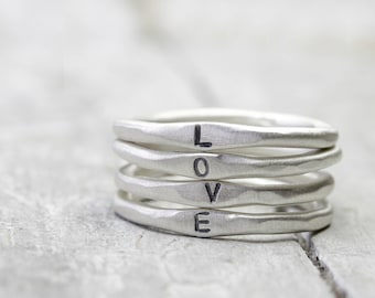 925 silver Rings Set 4 letters, personalized rings with engraving, stacking rings, organic shape, four rings in set