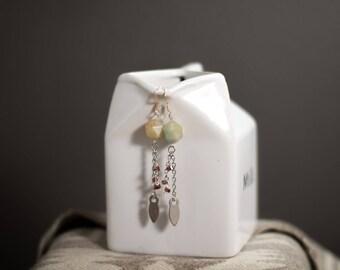Amazonite and Garnet Dangle Earrings