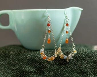 Wire Wrapped Carnelian Agate Drop Earrings