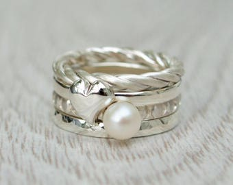 Silver chunky stacking rings - Rope ring - Heart ring - Fresh water pearl ring - Hammered ring - Handmade in any size