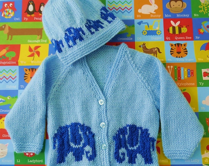 Knitting Pattern for Baby Jacket and Hat, Baby Cardigan and Hat Knitting Pattern with Elephants, Pdf download