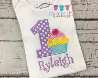 Purple Birthday Girl Cupcake Outfit - Baby Girl Cupcake Birthday Outfit - Cupcake Birthday Shirt- 1st Birthday Outfit - ANY AGE 1st 2nd 3rd
