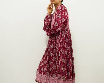 vintage 1970s mayur plum indian cotton quilted dress | S/M