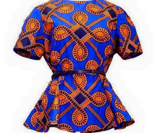 African clothing for women, African Top, Top, African Print Shirt. (Short Sleeve) SALE