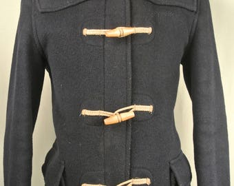 Gloverall Solid Navy Blue Wool Blend Basic Duffle Coat Men's Size: Small
