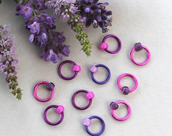 Stitch markers - fabric & notions, PURPLE FLOWERS, knitting supplies, knitting markers, snag free, knitting accessory, knitting gift