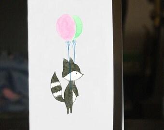 Raccoon with balloons - card