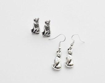 Cat Earrings, Cat Studs, Cat Stud Earrings, Cat Jewelry, Custom Cat Lover Gift, Kitten Earrings, Kitten Jewelry, Choose Studs or Hooks