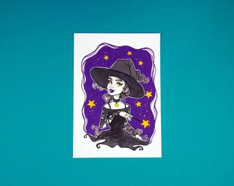 Magical Witch - Gouache Art Print - Illustration - Limited Edition Gold Print