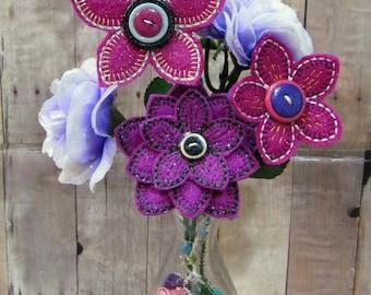 Summer Floral Bouquet, Purple/Pink Flowers