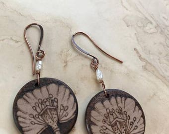 Poppy,seed pods,wooden,earrings,pyrography,flowers,botanical,flora,jewelry,pearls,handmade,wearable art style,boho,eco,woodland,fashion
