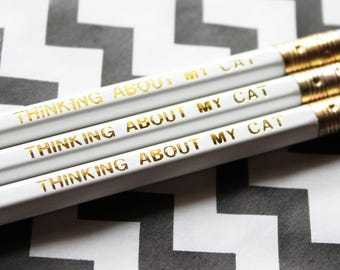 Cat gift, Cat pencil, Crazy cat lady, cat lover gift, Christmas cat gift, stationery pencil set, Thinking about my cat engraved pencil