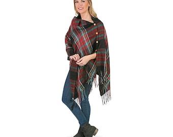 Plaid Poncho Wrap | Personalized Poncho | Monogrammed Blanket Scarf |