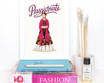 Frida Kahlo Passionate Poster, Future is Female, Art Gift for Her, Who Run the World, Girls Pop Art, Women, Painter, Feminism Art Print