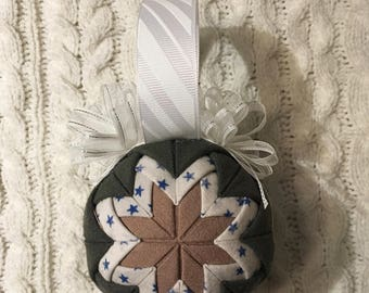 Flightsuit Quilted Christmas Ornament- Blue Stars