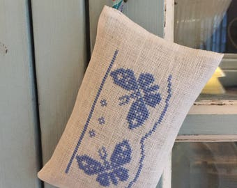 Handmade Butterfly Cross Stitch Embroidery Lavender Sachet Liberty of London Fabric