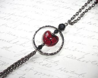 Red heart pendant long gunmetal chain necklace
