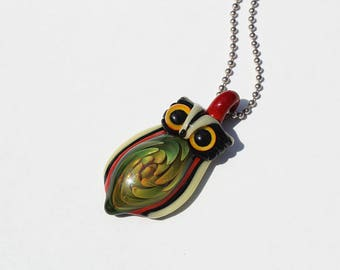 Flameworked Glass Owl Pendant-Heady Pendant-Implosion Pendant-Fumed Glass-Glass Owl-Owl Jewelry