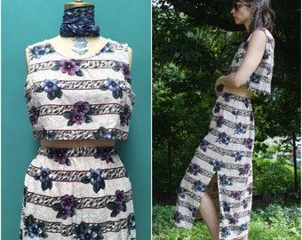 90s Raw Silk Reworked Two-Piece Dress Set // Tan Striped Floral Croptop & High Waist Maxi Skirt  sz M / L