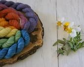 Merino Sparkle Sock Yarn Mini Skeins - 7 x 20g - 4ply Silver Sparkle Rainbow Colours - hand dyed