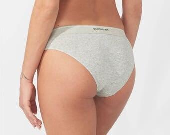 Women's Cotton Cheeky Brief Underwear in Marle Grey