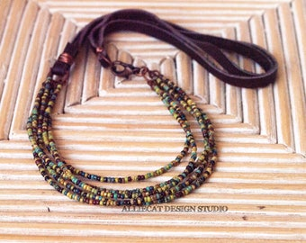 Bohemian Necklace, Rustic Necklace, Tribal Necklace, Boho Picasso Multistranded Necklace