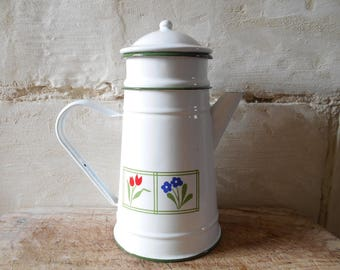 French enamel coffee pot with filter, by Japy factory, floral decor, French country cottage, rustic kitchen decor.