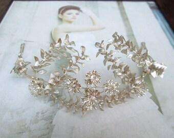 Vintage silver plated Myrtle Crown, wedding Crown Myrtle, Bridal tiara silver plated tiara 07