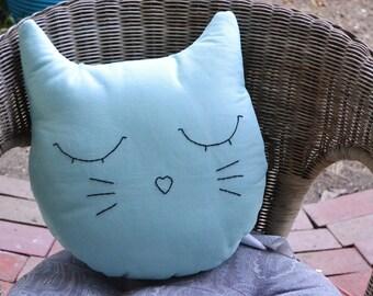 Mint Green Cat Face Pillow