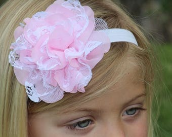 Pink White Chiffon Lace Flower Headband - Gift or Photo Prop - Newborn Baby Infant Toddler Girl Adult Birthday Party Favor