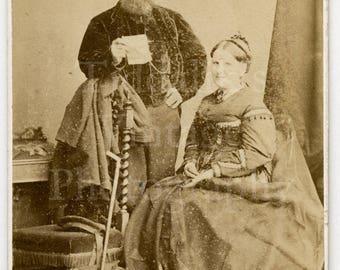 CDV Carte de Visite Photo Victorian Couple with Man Holding a Piece of Paper by J Rodgers of Saint Andrews Scotland - Antique Photograph