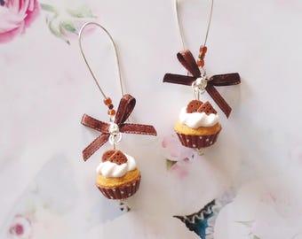 earrings sweet chocolate cupcakes polymer clay
