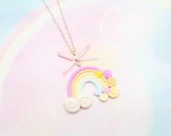 necklace kawaii rainbow cloud polymer clay