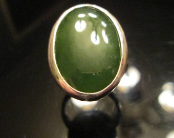 Nephrite Jade Ring With Twisted Wire Mokume Gane Band