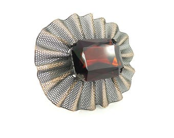Vintage Ruffle Mesh Cuff Bracelet, Glass Rhinestone, Copper Tone, Statement