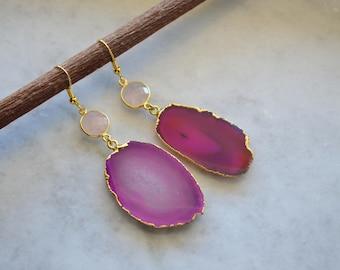 Pink agate slice earrings, pink agate dangles, pink agate rose quartz earrings, rose quartz earrings, rose quartz dangles