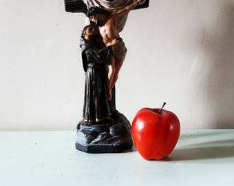 """Lovely Vintage Italian Religious Chalkware Statue of The Crucifixion - 12 1/2"""" Tall"""