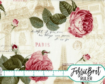 VIE EN ROSE Paris Floral Fabric by the Yard Fat Quarter Shabby Chic Vintage Style Eiffel Tower fabric 100% Cotton Quilting Fabric t1-5