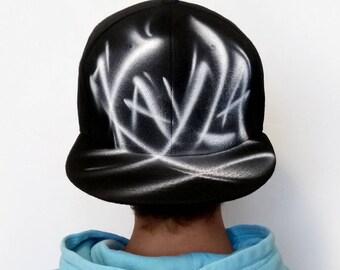 CUSTOM Snapback hat, Girls Snapback hat, Boys Snapback hat, Custom airbrushed snapback hat, Graffiti hat, Personalized gift, spray, Kayla