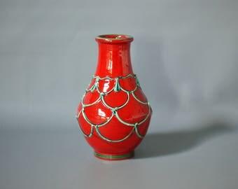 BERTONCELLO Vase, Red and Green Italian Vase, 1960s Italian Vase, Handcrafted Italian Vase, Mid Century Italian Vase, Italian Ceramic Vase