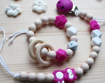 FREE SHIPPING Set Pacifier Clip and teether Silicone beads Pacifier holder