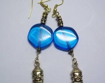 Gold Buddha And Blue Glass, Drop, Dangle, Hook Earrings