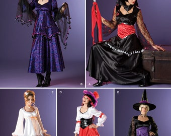 2502, Simplicity, Misses, Costume Pattern, Steampunk, Witch, Angel, Pirate, Fair Maiden, Bar Wench, Cosplay, Dress UP, Halloween
