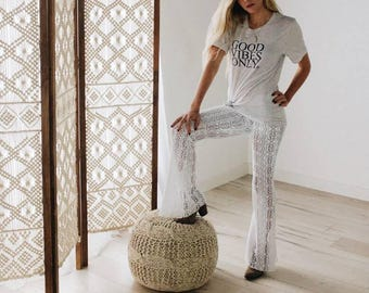 AZTEC TRIBAL white lace burning man playa yoga lounge beach summer festival bell bottom flare pants with shorts liner optional