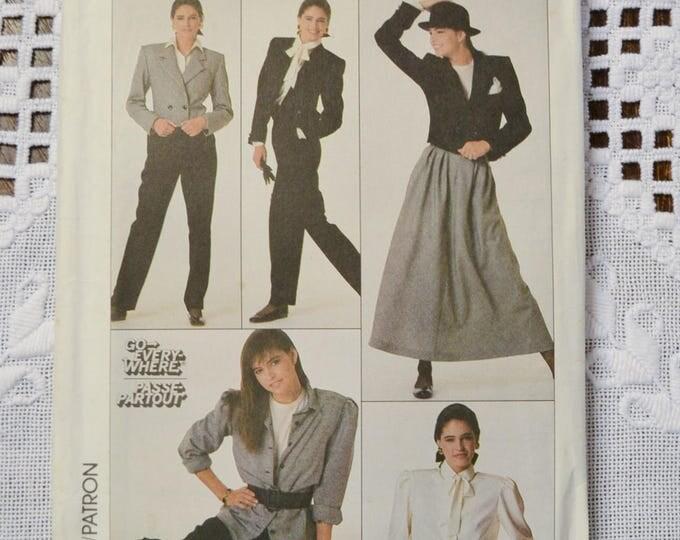 Vintage Simplicity 8247 Sewing Pattern Misses Blouse Skirt Pants Jacket Size 14 DIY Fashion Sewing Crafts PanchosPorch